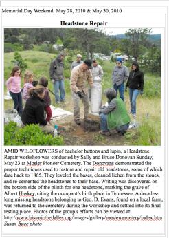 The Dalles Chronicle: Headstone Repair Workshop