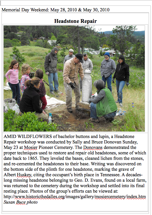 The Dalles Chronicle: Headstone Repair Workshop