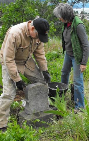 George Evans' grave marker